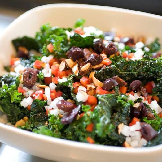 Borecole salad: mixed kale, radish, bell pepper, spiced almonds, olives, citranette.