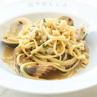 Linguine Alle Vongole — chopped clams, garlic, chile, parsley.