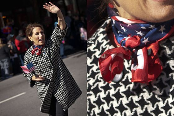 ... I, however, would argue that her all-time best theme look must include the American flag neckerchief she wore to a Veterans' Day parade in South Carolina during her presidential campaign.