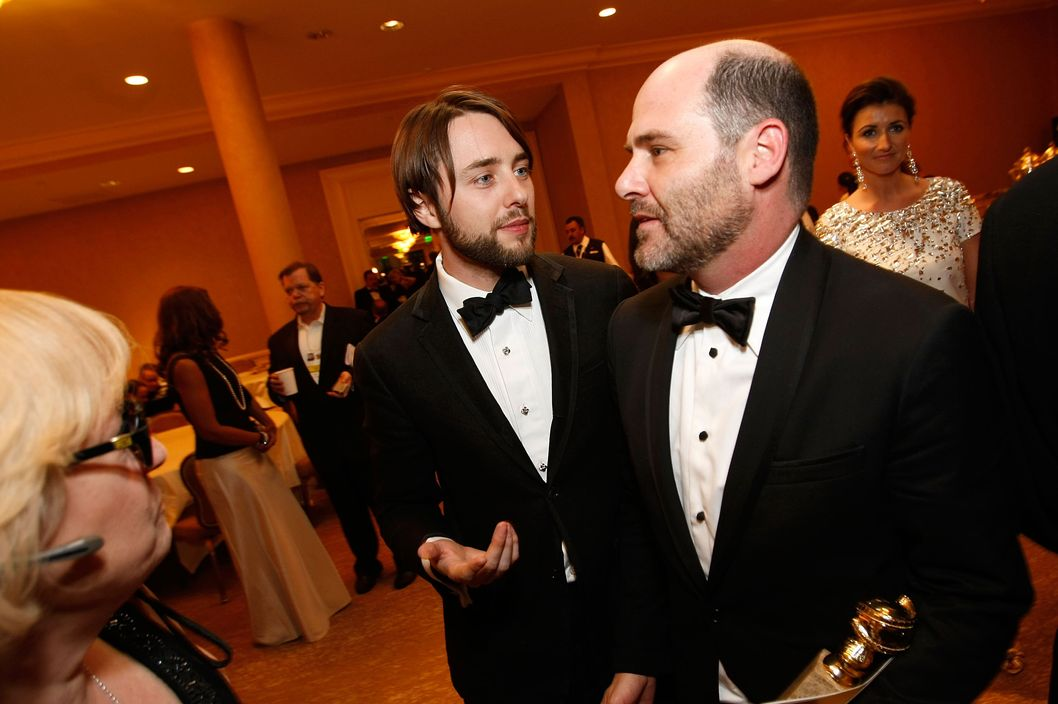 Actor Vincent Kartheiser (L) and Mad Men creator Matthew Weiner attend the 66th Golden Globe Awards held at the Beverly Hilton Hotel on January 11, 2009 in Beverly Hills, California.