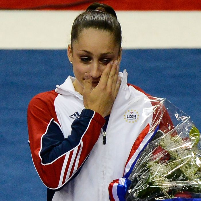 Jordyn Wieber reacts after being named to the US Gymnastics team going to the 2012 London Olympics at HP Pavilion on July 1, 2012 in San Jose, California.