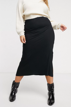 ASOS Design Curve Bias Cut Jersey Midi Slip Skirt