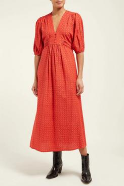 mih jeans tulip printed cotton midi dress - strategist fashion summer sale