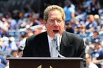 NEW YORK - JULY 17: Broadcasters John Sterling (L) and Michael Kay of the New York Yankees introduce the players during the teams 64th Old-Timer's Day before the MLB game against the Tampa Bay Rays on July 17, 2010 at Yankee Stadium in the Bronx borough of New York City. (Photo by Jim McIsaac/Getty Images) *** Local Caption *** John Sterling; Michael Kay