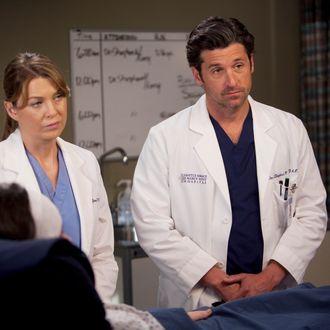 Elen Pompeo and Patrick Dempsey on Grey's Anatomy.