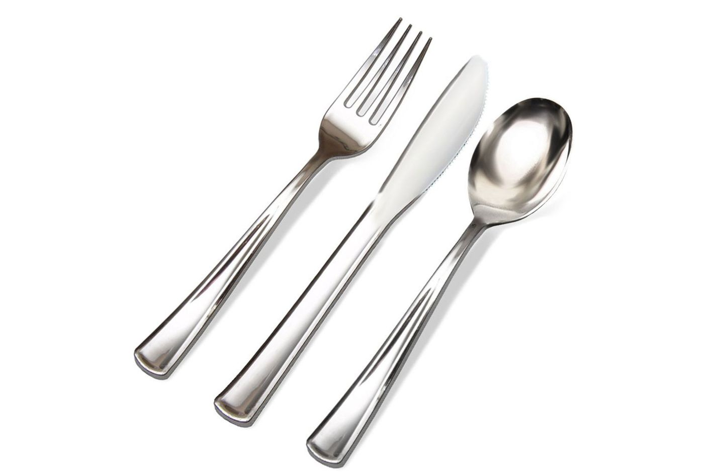 Silver Plastic Cutlery Premium Quality Disposable Silverware Polished 300-Count