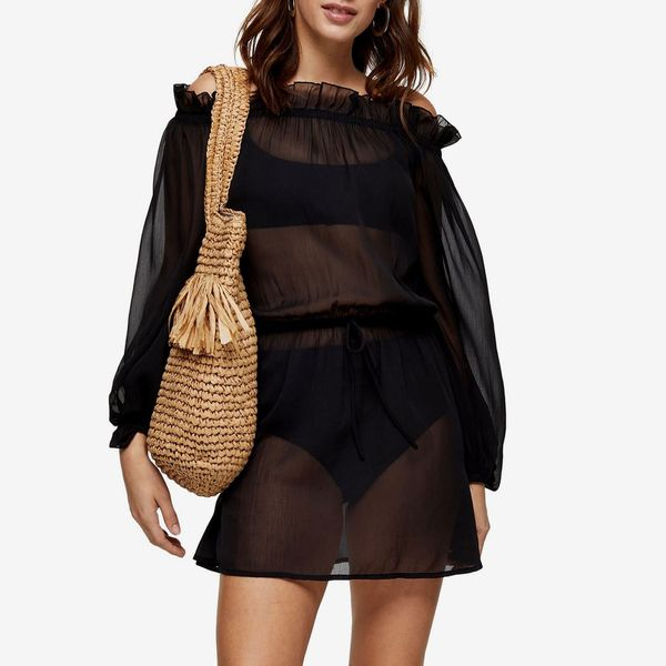 Topshop Off the Shoulder Long Sleeve Cover-Up Dress