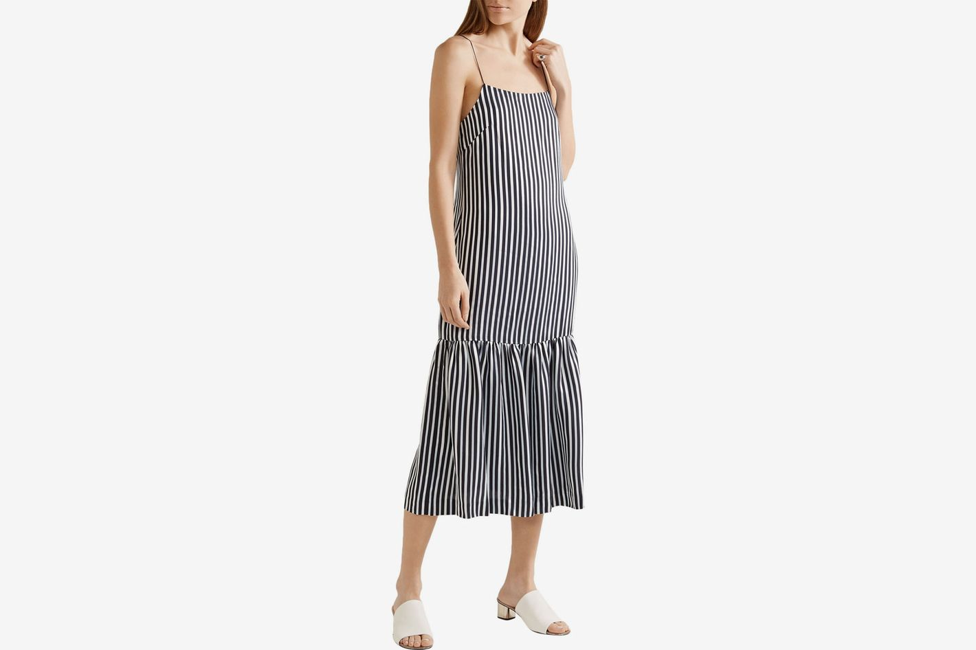 Elizabeth and James striped satin and crepe midi dress