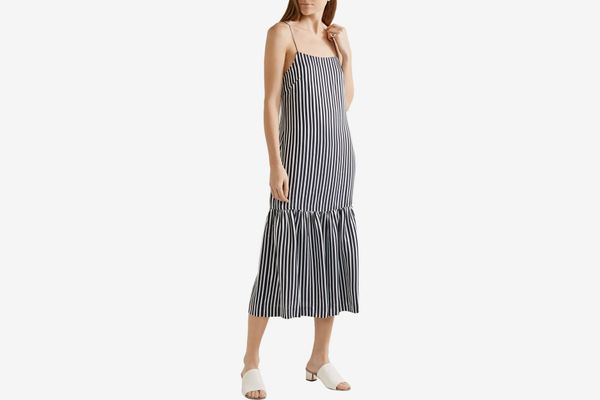 Elizabeth and James striped satin and crepe midi dress