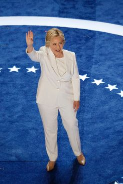 Hillary Clinton in a white pantsuit.