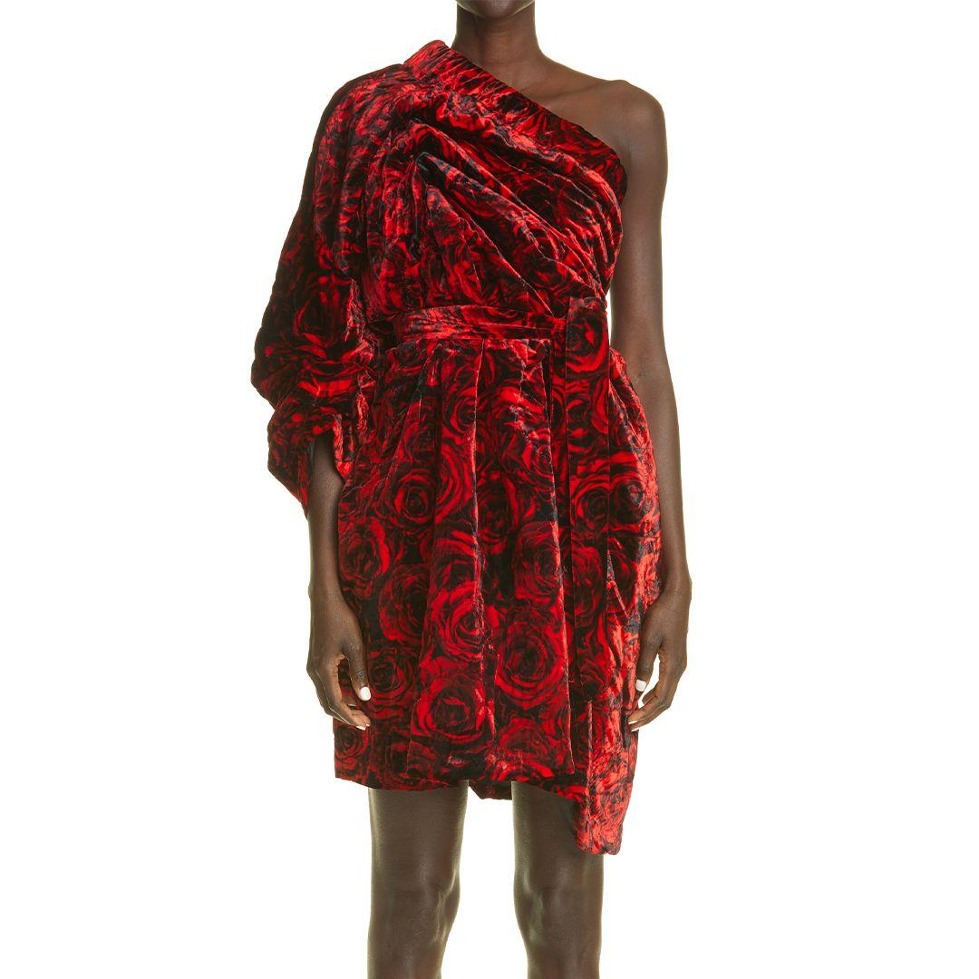 Delta Rose Print Velvet One-Shoulder Dress
