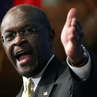 WASHINGTON, DC - OCTOBER 31: Republican presidential candidate Herman Cain speaks at the National Press Club October 31, 2011 in Washington, DC. During a question and answer portion of the program, Cain called the accusations of sexual harassment against him