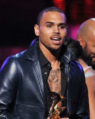 Singer Chris Brown accepts the award for 'Best Rap Performance' onstage at the 54th Annual GRAMMY Award