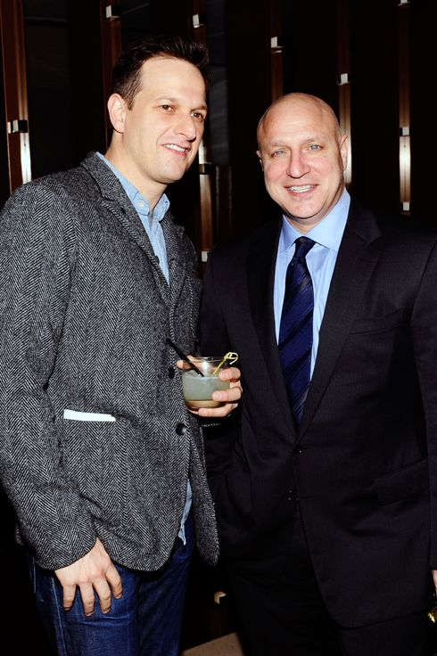 "Josh Charles, Tom Colicchio==BANK OF AMERICA and FOOD & WINE with THE CINEMA SOCIETY host the after party for ""A PLACE AT THE TABLE""==Riverpark, NYC==February 27, 2013==?Patrick McMullan==Photo - CLINT SPAULDING/PatrickMcMullan.com===="