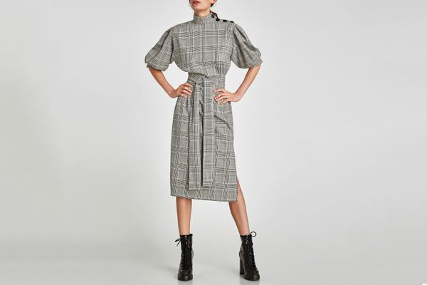 Checked Dress With Button Detail