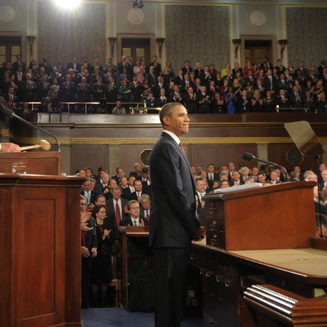 U.S. President Barack Obama acknowledges members of Congress before delivering his State of the Union address before a joint session of Congress on Capitol Hill January 24, 2012 .