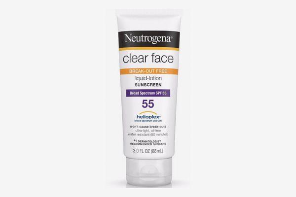 Neutrogena Clear Face Break-Out Free Liquid Lotion Sunscreen Broad Spectrum SPF 55