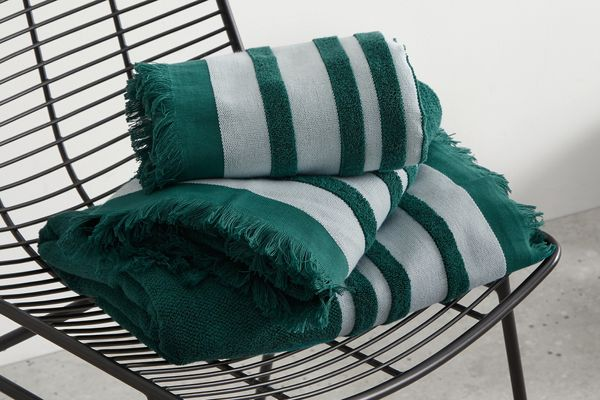 Maringa 100% Cotton Set of 2 Bath Sheets, Storm Green