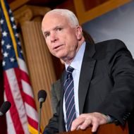 "Sen. John McCain, R-Ariz., the ranking member of the Senate Armed Services Committee, says he would do all he could to block the nomination of United Nations Amb. Susan Rice to replace Secretary of State Hillary Rodham Clinton because of comments she made after the deadly Sept. 11 attack on the U.S. consulate in Benghazi, at a press conference at the Capitol in Washington, Wednesday, Nov. 14, 2012.  President Barack Obama later responded in a news conference saying Rice's critics should ""go after me"" — not her — if they have issues with the administration's handling of the deadly attacks on Americans in Benghazi, Libya.   (AP Photo/J. Scott Applewhite)"