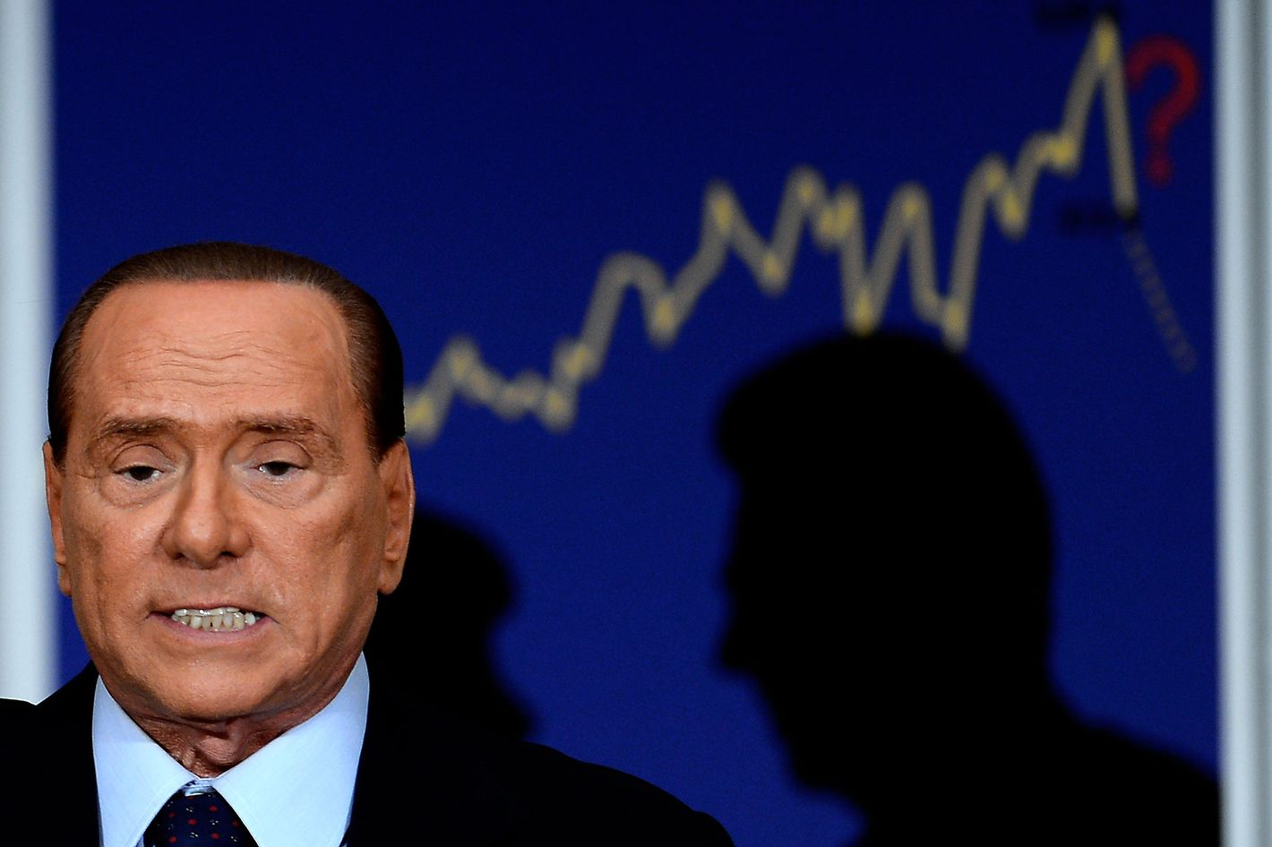 "Former Perime Minister Silvio Berlusconi attends the presentation of the  book ""The big cheat"" by former Minister of Public Administration and Innovation Renato Brunetta in downtown Rome on September 27, 2012."