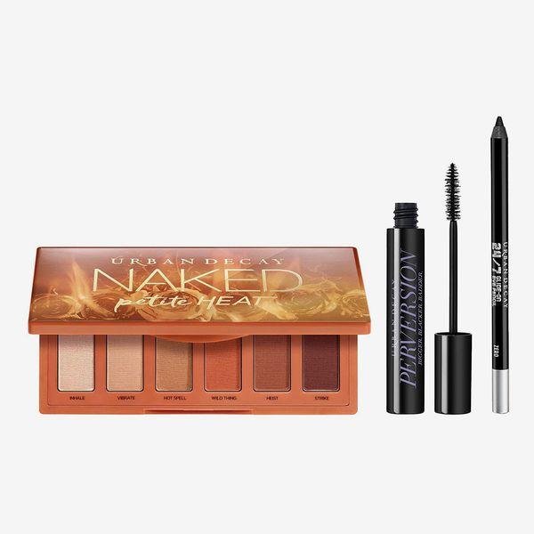 Urban Decay Eye Makeup Set - Naked Petite Heat Eyeshadow Palette + Volumizing Mascara + Waterproof Eyeliner Pencil