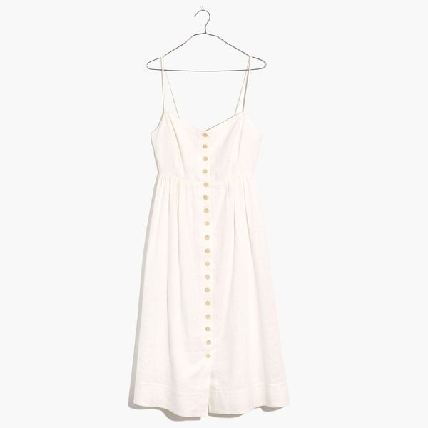 Linen-Blend Cami Button-Front Midi Dress