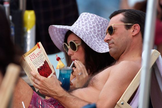 "Jon Hamm and Jessica Pare shoot an episode of the hit show ""Mad Men"" in their roles as Don Draper and his wife Megan Draper on the beach in Hawaii."