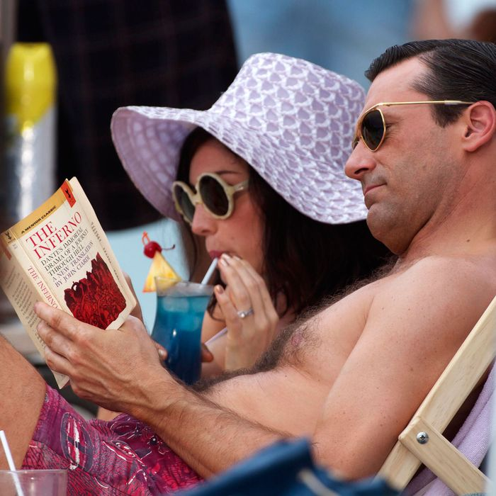 Jon Hamm and Jessica Pare shoot an episode of the hit show