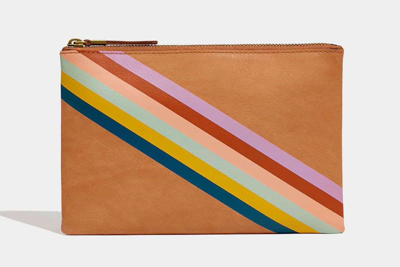 Madewell The Leather Pouch Clutch: Rainbow-Striped Edition