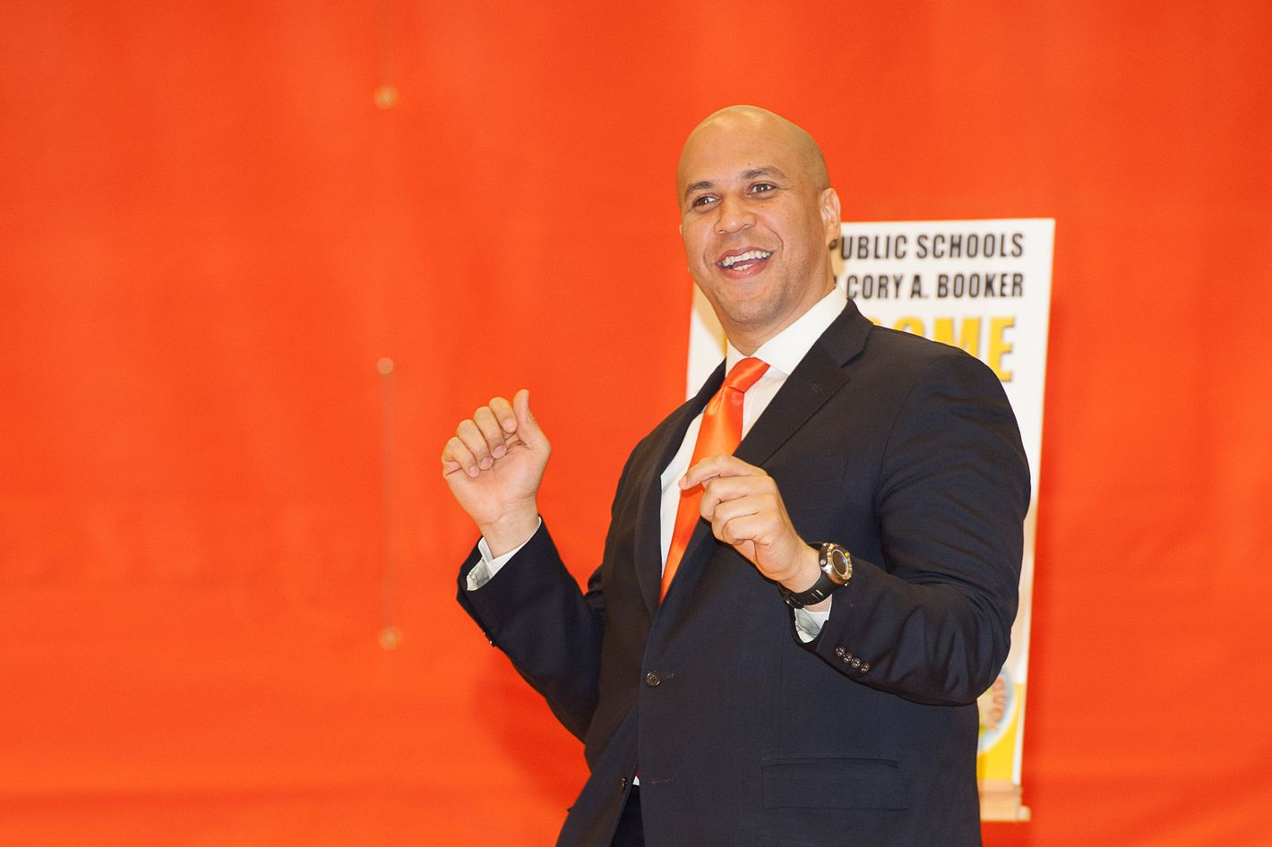 "Newark Mayor Cory Booker attends the ""Let's Move! Newark: Our Power"" at Weequahic High School on January 23, 2012 in Newark, New Jersey."