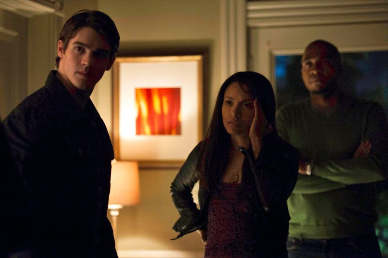 "The Vampire Diaries -- ""A View to a Kill"" -- Pictured (L-R): Steven R. McQueen as Jeremy, Kat Graham as Bonnie, and Rick Worthy as Rudy"