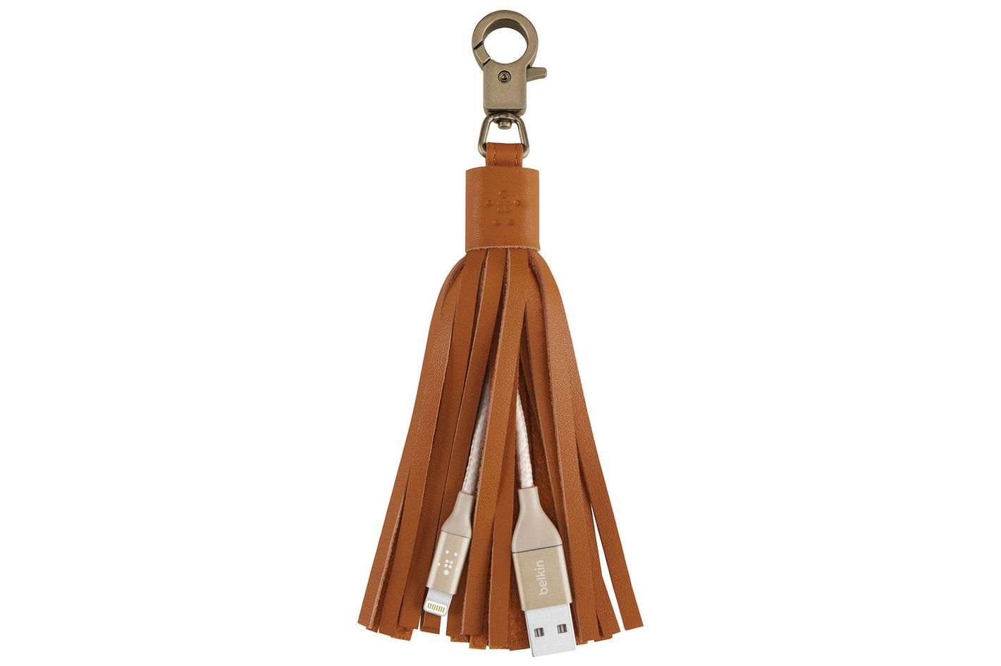 Leather-Tassel Keychain iPhone Charger