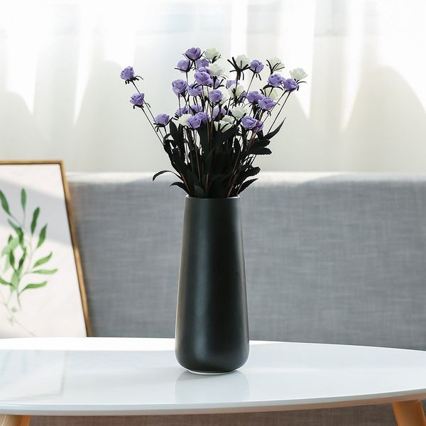 D'vine Dev Tall Matte Black Ceramic Flower Vases