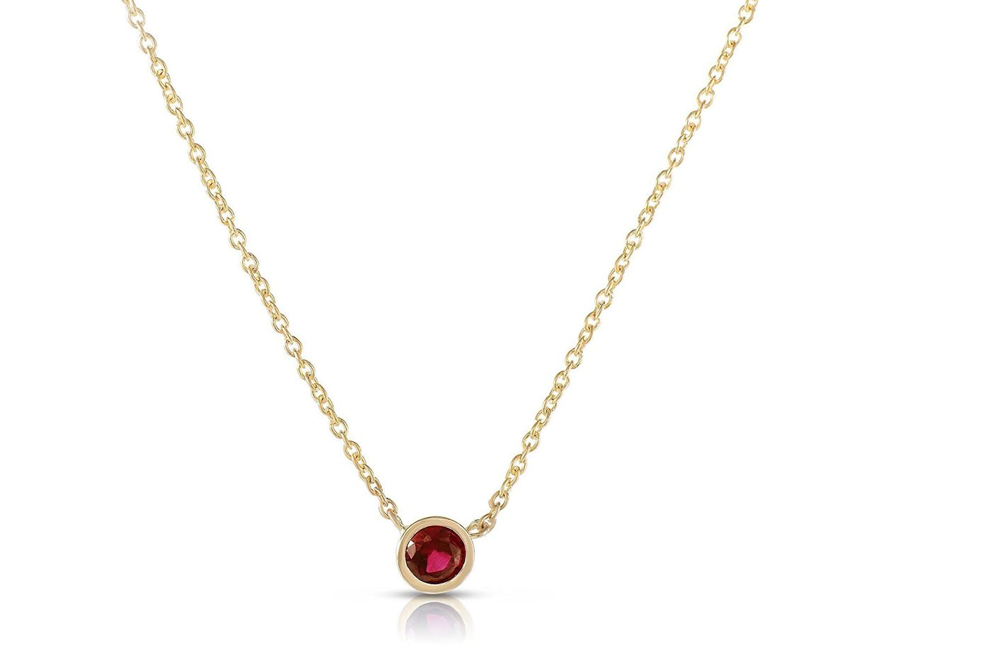 Suzan Des Ruby Solitaire Necklace