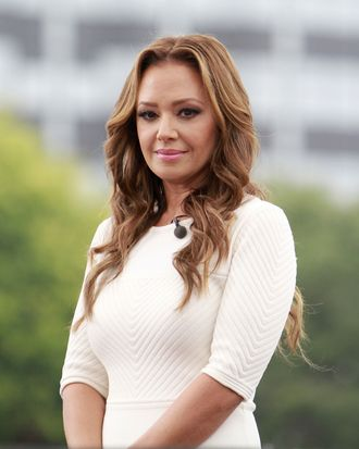 Actress Leah Remini films a live episode of the TV show 'EXTRA' in Los Angeles