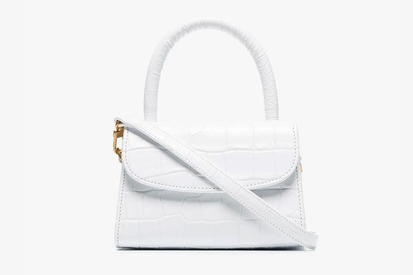 By Far White Mini Leather Mock Croc Cross Body Bag