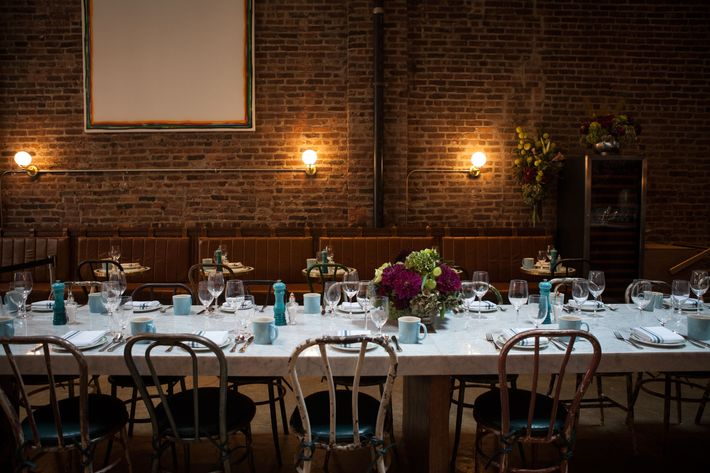 The communal table is reserved for walk-in diners.