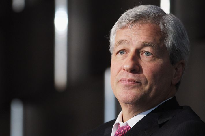 JPMorgan Chase & Co. chairman and CEO Jamie Dimon looks on while speaking at Simon Graduate School of Business at the University of Rochester's New York City Conference on May 3, 2012 in New York City. Dimon spoke about the state of the economy and regulations in the banking industry.