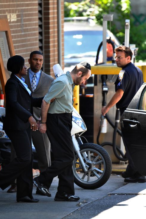 Thursday July 14th, 2011. 1144. 2820 Snyder Avenue, Brooklyn. The 67th Precinct. Murder Suspect Levi Aron is escorted out of the Precinct. He is accused of the kidnap and brutal murder of 8yr old Leiby Kletzky. Back at his apartment at 466 East 2nd Street, Crime Scene Investigators remove evidence, including two computers. <P> Pictured: Levi Aron is lead from the Precinct <P> <B>Ref: SPL295770  140711  </B><BR/> Picture by: T Parisienne / Splash News<BR/> </P><P> <B>Splash News and Pictures</B><BR/> Los Angeles:310-821-2666<BR/> New York:212-619-2666<BR/> London:870-934-2666<BR/> photodesk@splashnews.com<BR/> </P>