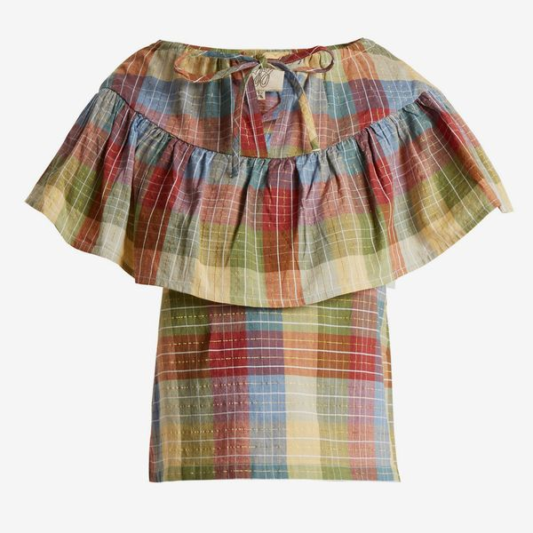 Ace & Jig Clifton Checked Cotton-Blend Top- strategist best plaid short sleeve women's top