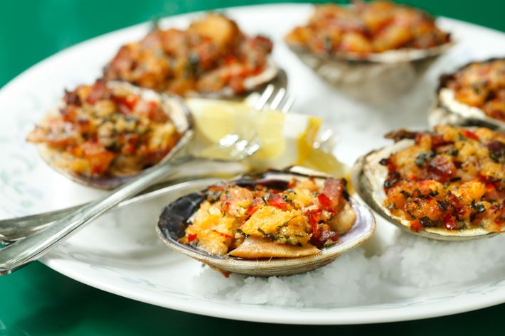 Clams casino with smoked bacon.