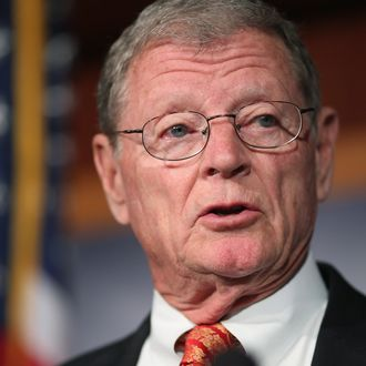 Sen. James Inhofe (R-OK) speaks during a news conference to announce a plan to defund the Patient Protection and Affordable Care Act, also known as Obamacare, at the U.S. Capitol March 13, 2013 in Washington, DC. Although Inhofe and his fellow sponsors expect the legislation to fail, they believe it is an important survey of who supports health care reform.