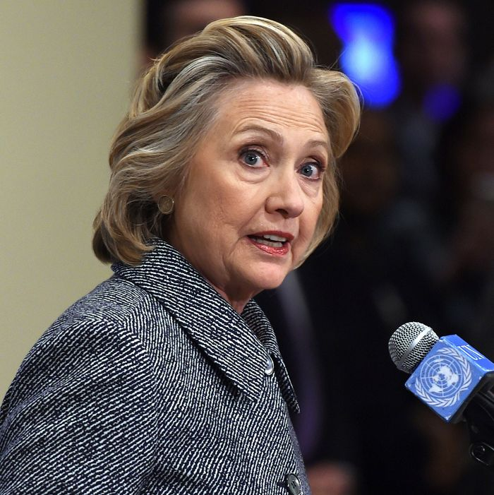 Hillary Clinton answers questions from reporters March 10, 2015 at the United Nations in New York. Clinton admitted Tuesday that she made a mistake in choosing for convenience not to use an official email account when she was secretary of state. But, in remarks to reporters after attending a United Nations event, she insisted that her email set-up had been properly secure and that she had turned over all professional communications to the State Department. AFP PHOTO/DON EMMERT (Photo credit should read DON EMMERT/AFP/Getty Images)