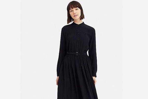 Uniqlo x Ines de la Fressange Gathered Long-Sleeve Dress