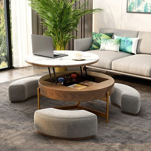 Round Lift-Top Coffee Table with Storage & 3 Ottoman