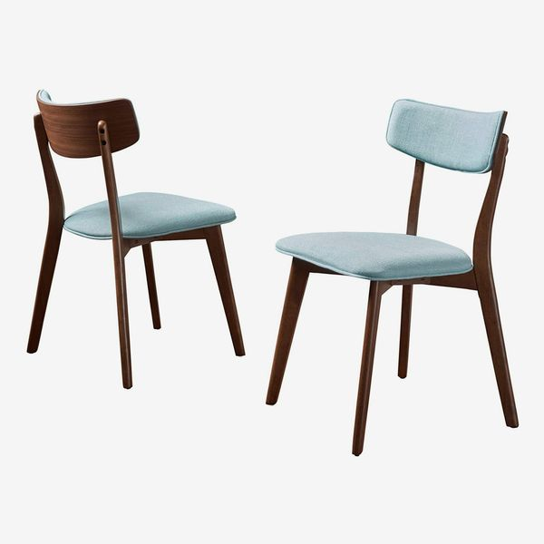 GDF Studio Crystal Mid Century Mint Fabric Dining Chairs with Natural Walnut Finish