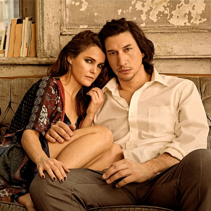 Keri Russell and Adam Driver.