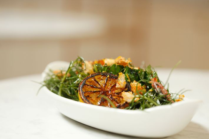 Agretti: sauteed agretti and wild spinach, garlic, anchovies, breadcrumbs.