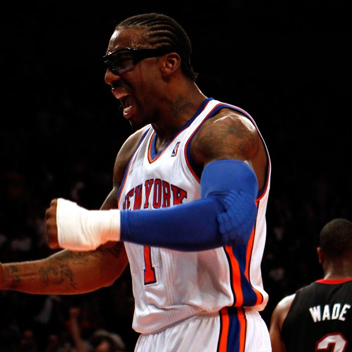 Amare Stoudemire #1 of the New York Knicks reacts after he dunked in the first half against the Miami Heat in Game Four of the Eastern Conference Quarterfinals in the 2012 NBA Playoffs on May 6, 2012 at Madison Square Garden in New York City.