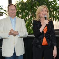 The Huffington Post executive editor Tim O'Brien and author/columnist Arianna Huffington speak at the launch party for Huffington. the new weekly iPad magazine for Huffington Post at the Gramercy Park Hotel Rooftop on June 13, 2012 in New York City. NEW YORK, NY - JUNE 13:  The Huffington Post executive editor Tim O'Brien and author/columnist Arianna Huffington speak at the launch party for Huffington. the new weekly iPad magazine for Huffington Post at the Gramercy Park Hotel Rooftop on June 13, 2012 in New York City.  (Photo by Mike Coppola/Getty Images)